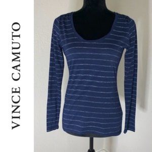 Vince Camuto striped scoop neck long sleeve